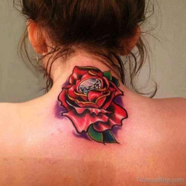Rose Tattoo Design On Nape