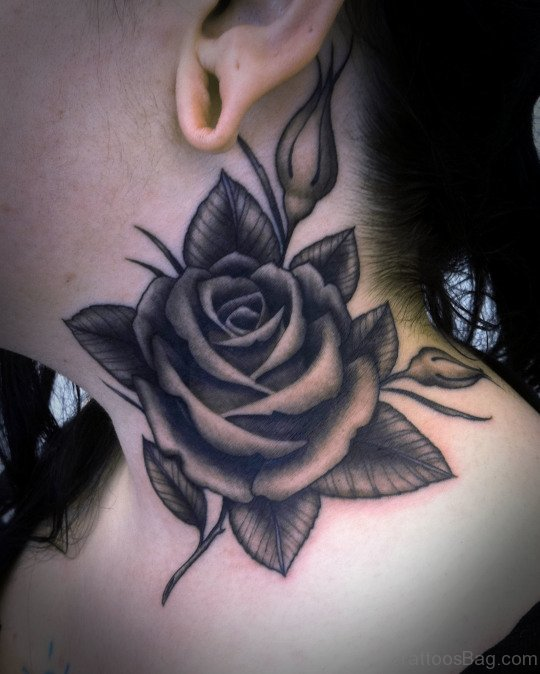 Rose Tattoo Design On Neck