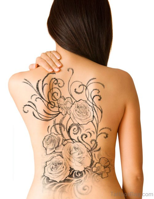 Rose Tattoo On Back Body