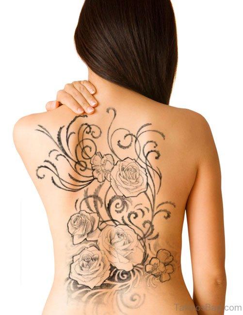 Rose Tattoo On Back Body