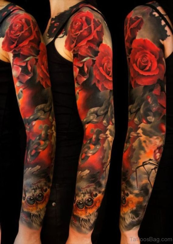Rose Tattoo On Full Sleeve