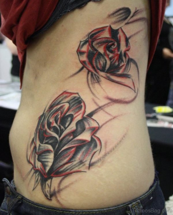 Rose Tattoo On Rib