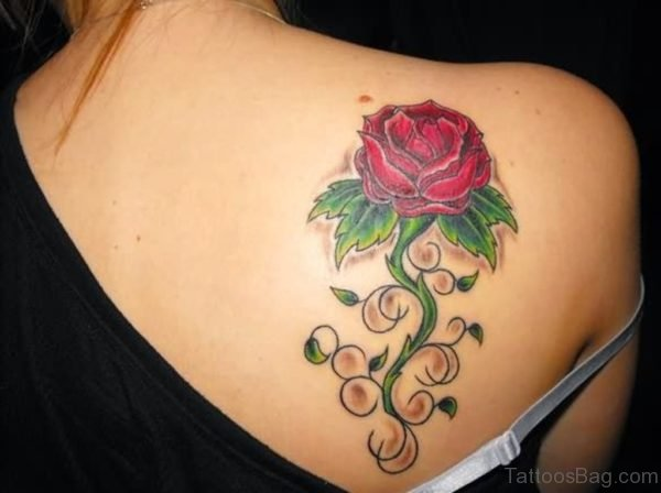 Rose Tattoo On Upper Back