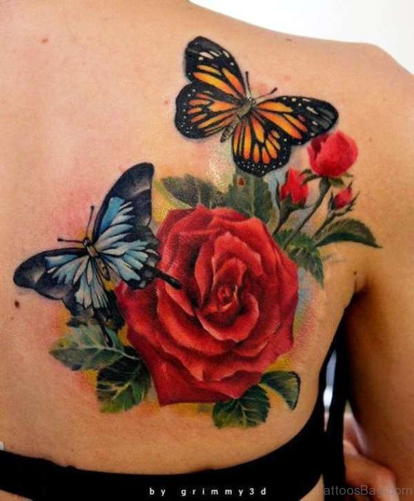 Rose With Butterflies Tattoo On Shoulder