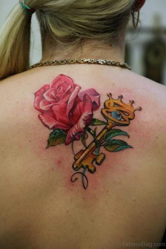 Rose With Key Tattoo On Upper Back