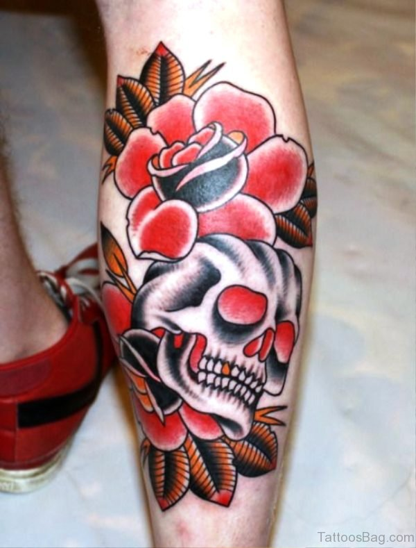Rose With Skull Tattoo On Calf