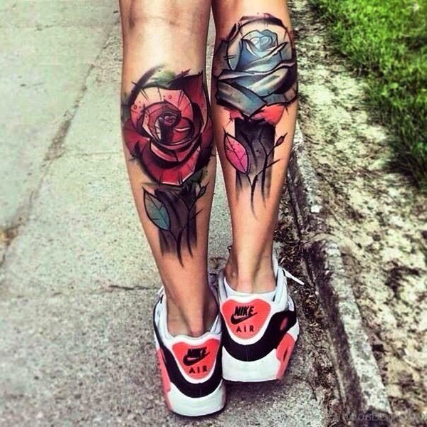 Roses Tattoos On Both Calf