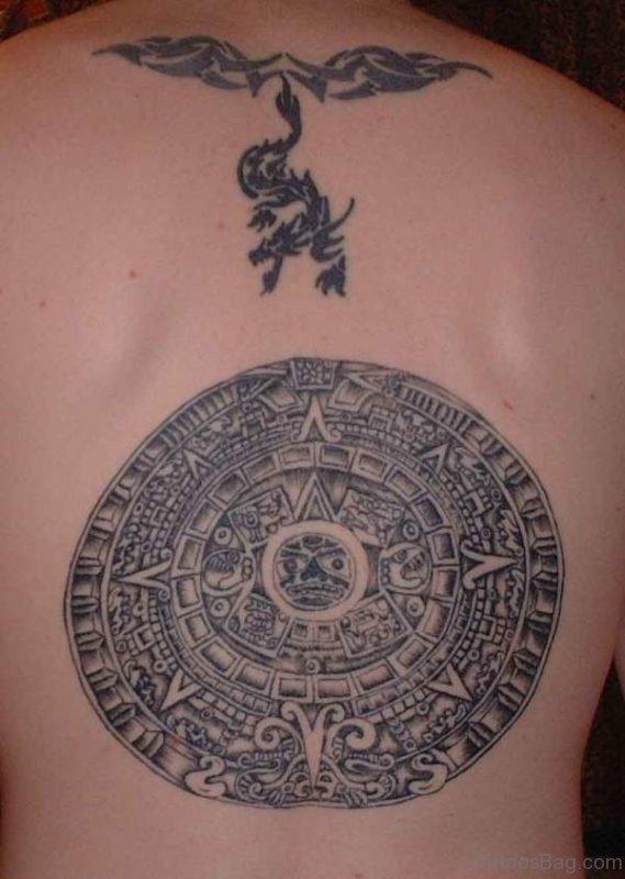 Round Aztec Tattoo On Back