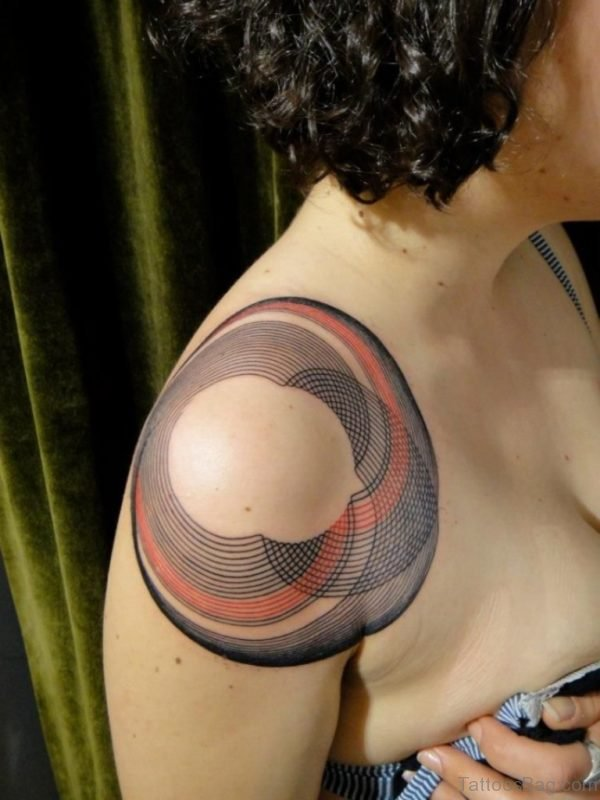 Round Geometric Shoulder Tattoo