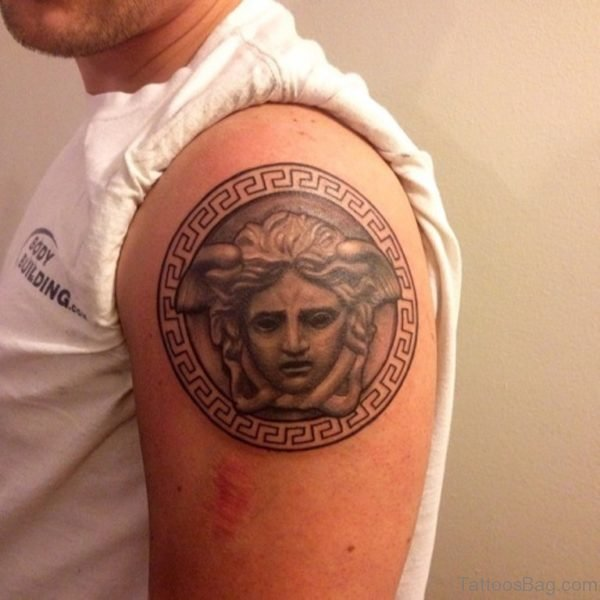 Round Medusa Tattoo On Shoulder
