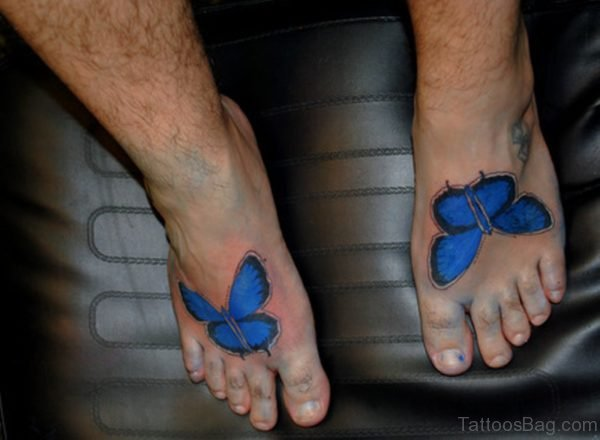 Royal Blue Butterfly Tattoo