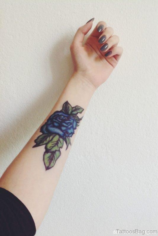 Royal Blue Rose Tattoo On Wrist