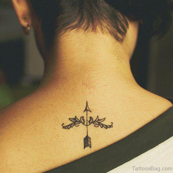Sagittarius Arrow Tattoo Design On Back