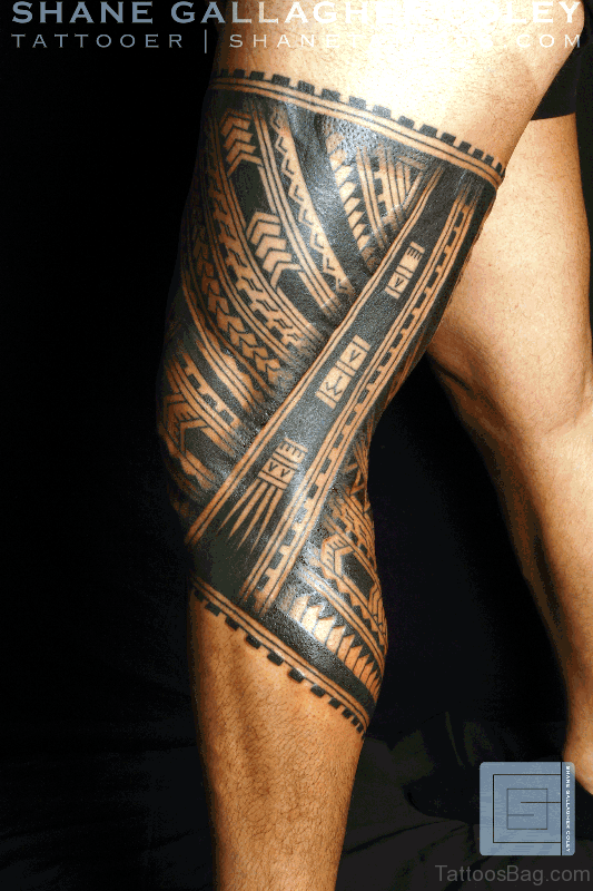 Samoan Tribal Leg Band Tattoo