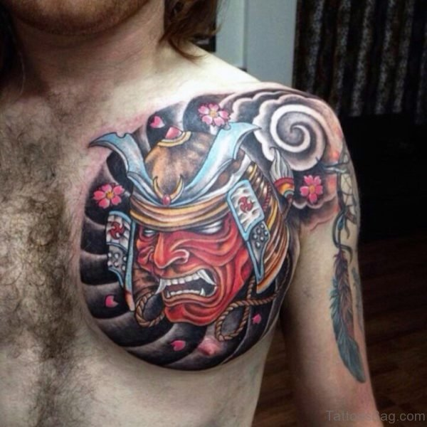 Samurai Mask On Stormy Background Chest Tattoo
