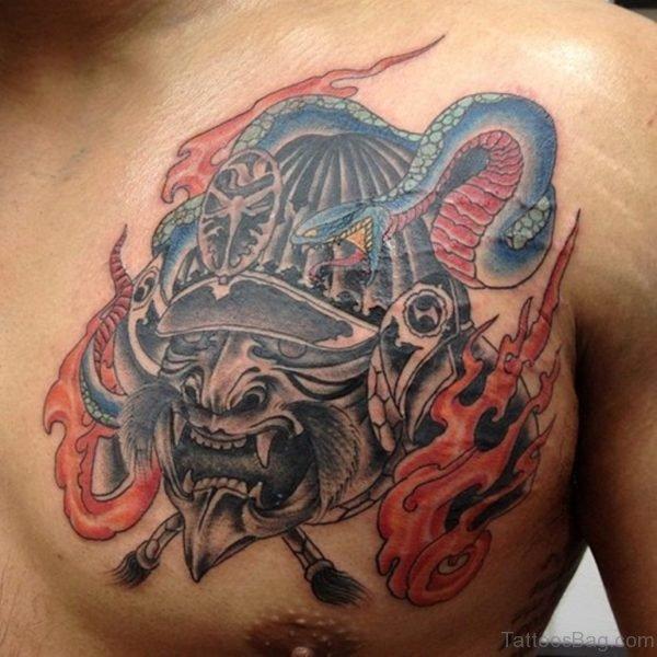 Samurai Mask Tattoo On Chest For Men