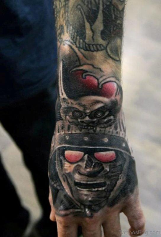 Samurai Warrior Tattoo On Hand