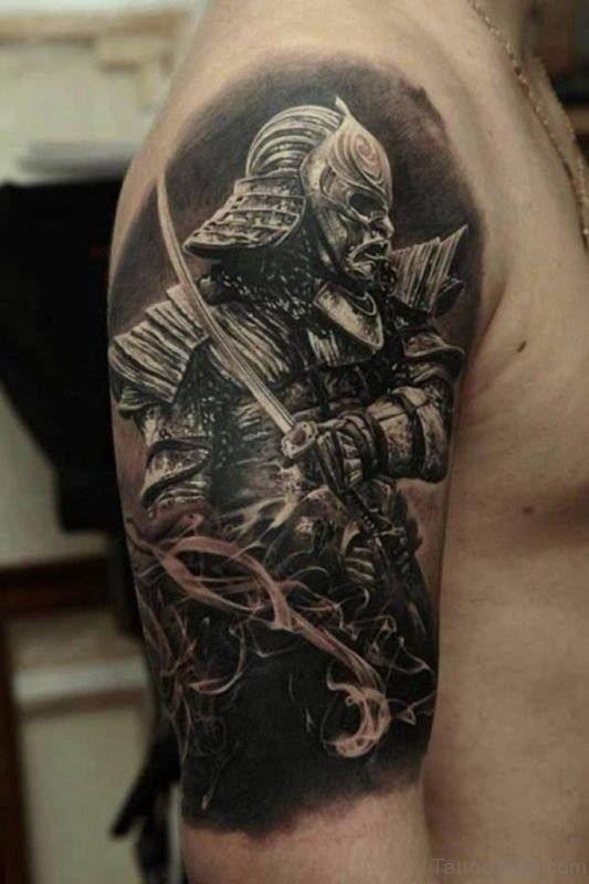 Samurai Warrior Tattoo on Shoulder
