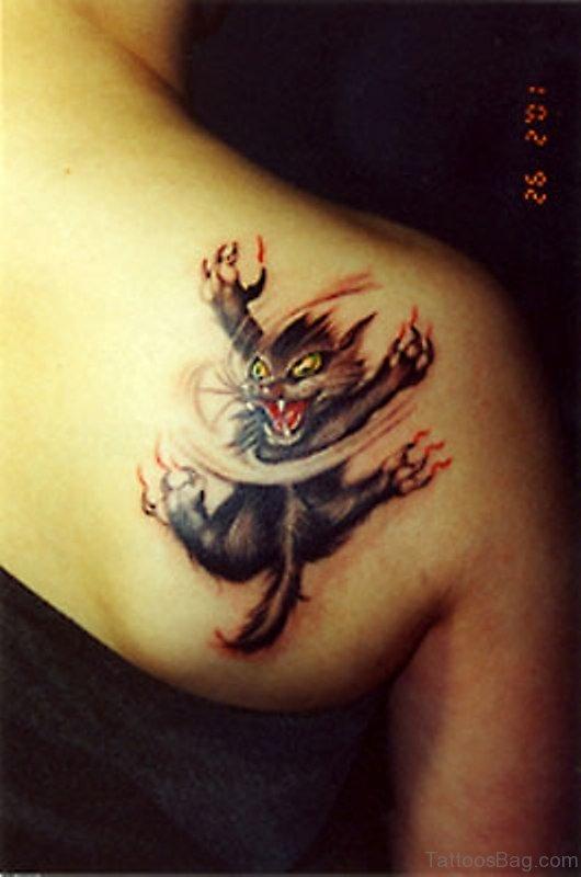 wonderful cat tattoos  shoulder