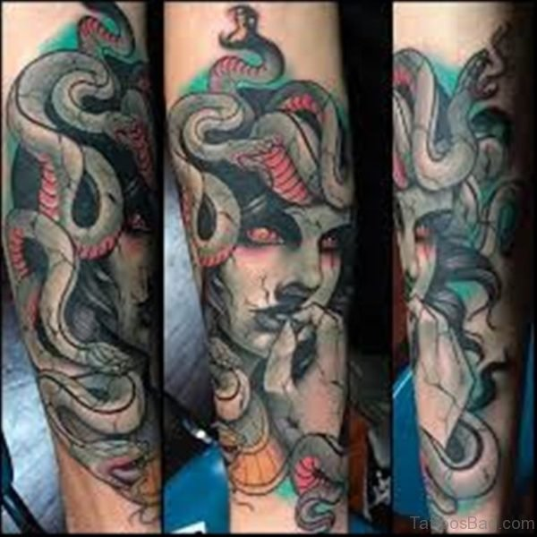 Scary Medusa Tattoo Design On Arm