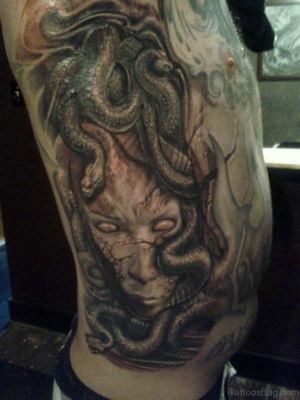 Scary Medusa Tattoo On Rib