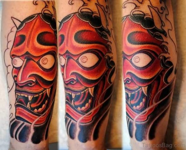 Scary Red Hannya Mask Tattoo On Leg