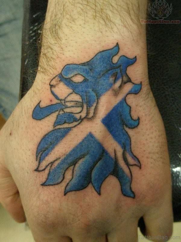 Scotland Lion Tattoo On Hand