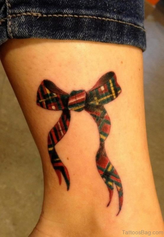 Scottish Bow Tattoo On Ankle