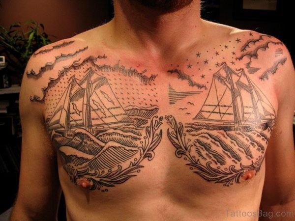 Sea And ship Tattoo