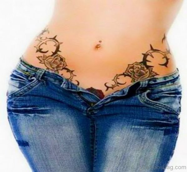 Sexy Waist Tribal Tattoo for Women
