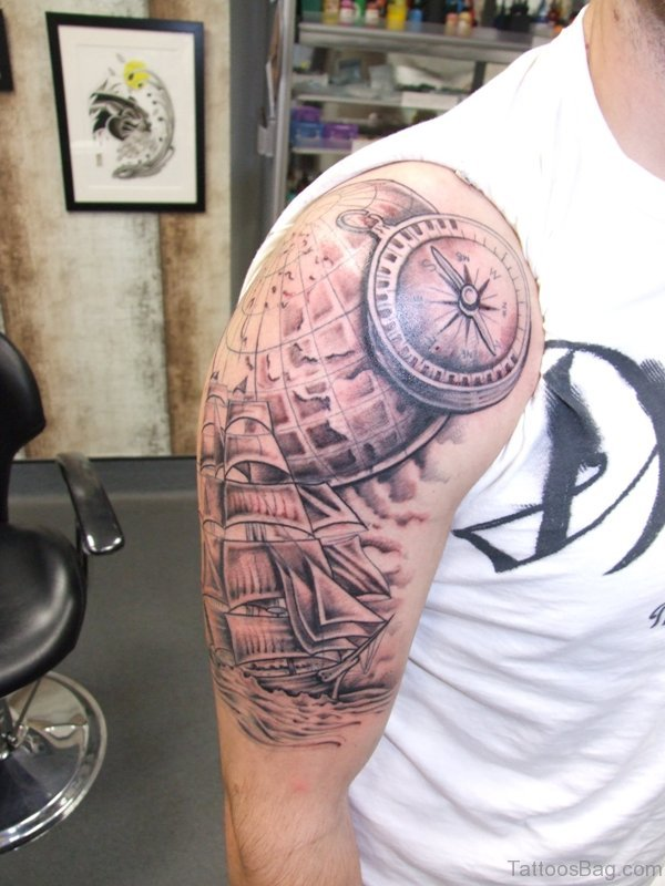 Ship And Compass Shoulder Tattoo