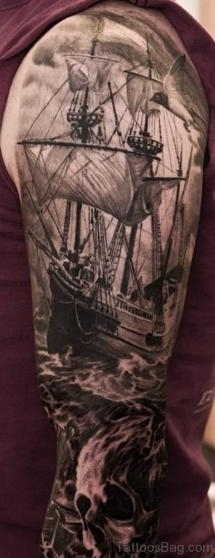 Ship And Skull Tattoo On Full Sleeve