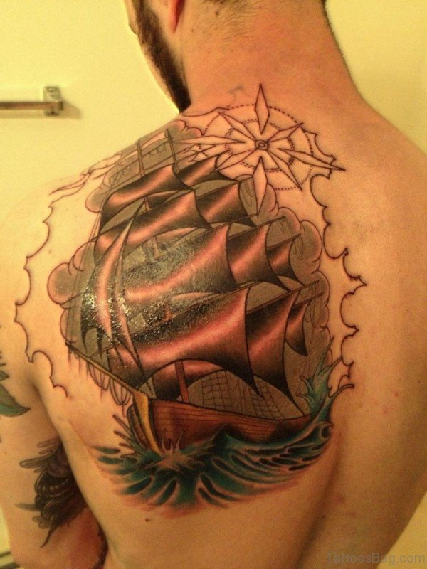 Ship Nautical Shoulder Tattoo Design