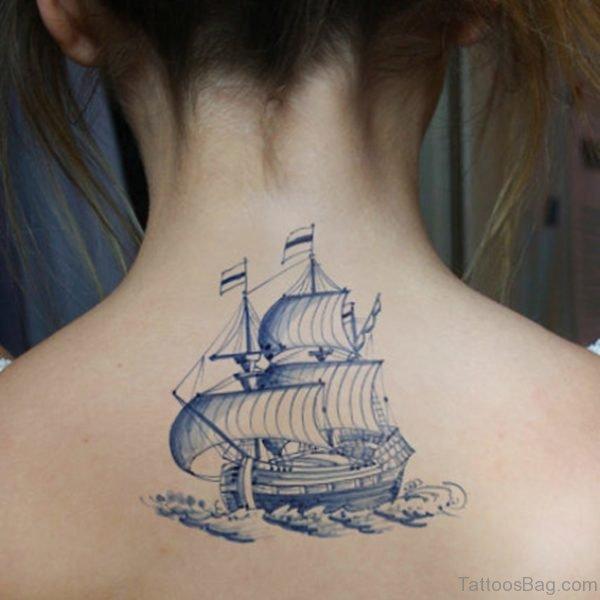 Ship Tattoo Design On Nape