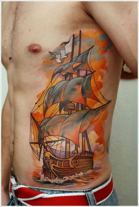 Ship Tattoo Design On Rib