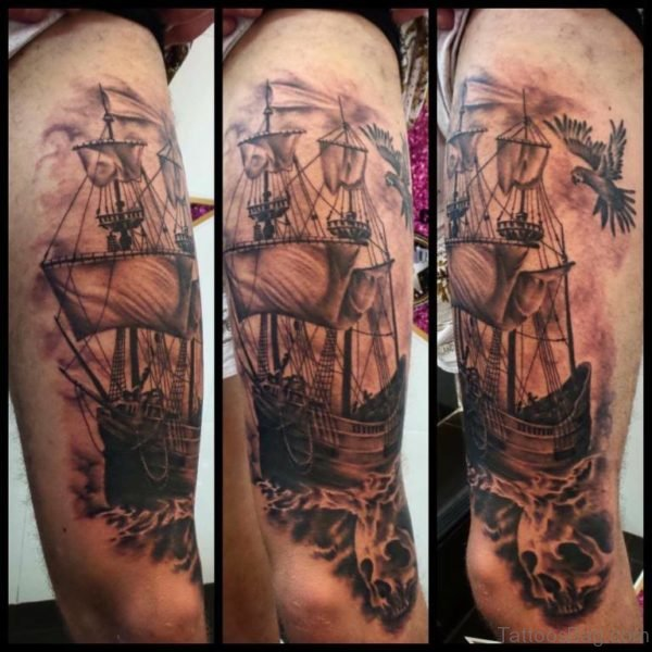 Ship Tattoo Design On Shoulder