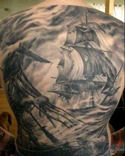 Ship Tattoo On Back