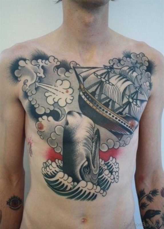 Ship Tattoo On Chest