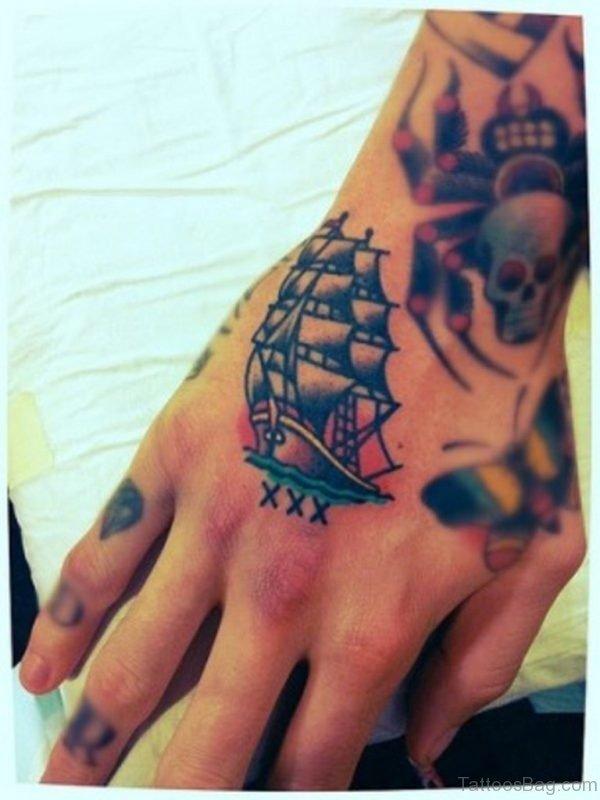 Ship Tattoo On Hand
