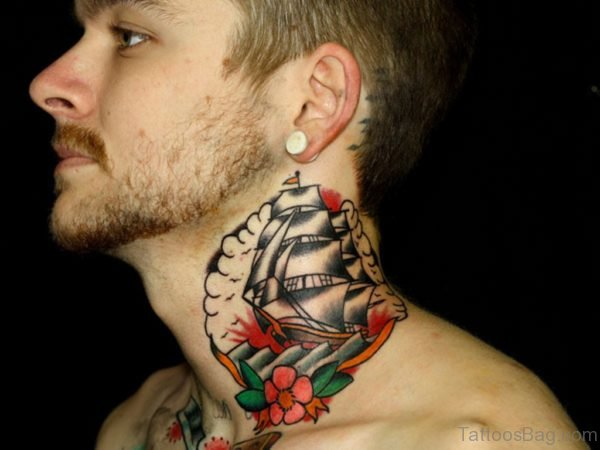 Ship Tattoo On Neck
