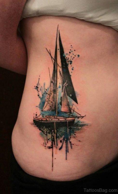 Ship Tattoo On Rib