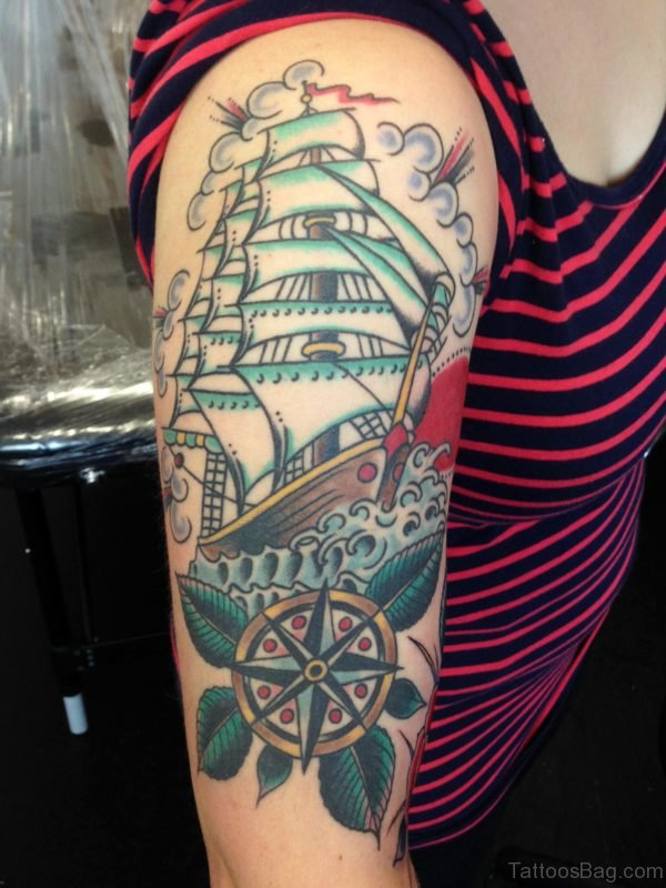 Ship Tattoo On Shoulder