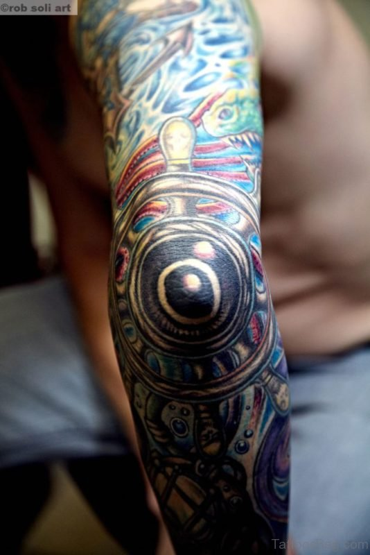 Ship Wheel Tattoo On Full Sleeve
