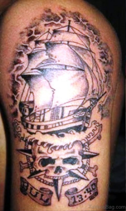 Ship With Skull Tattoo On Shoulder