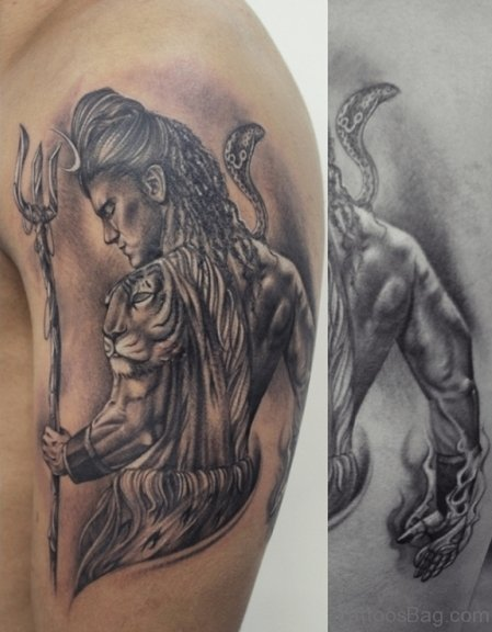 Shiv Tattoo On Shoulder