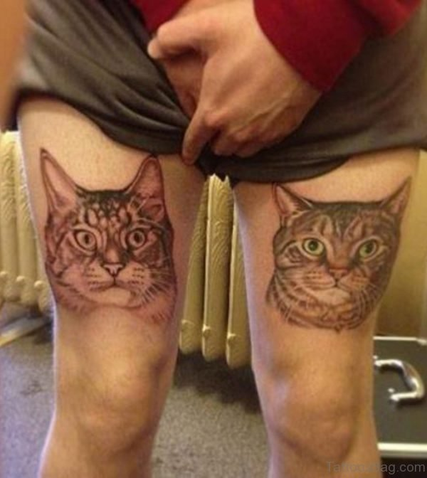 Similar Cat Tattoo On Thigh