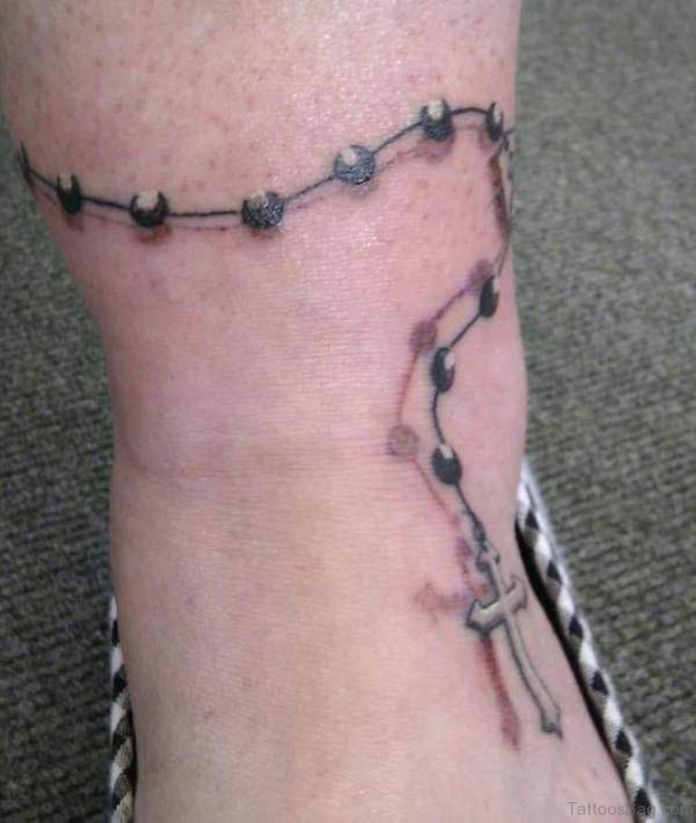63 cool rosary tattoos on ankle for Rosary cross tattoo