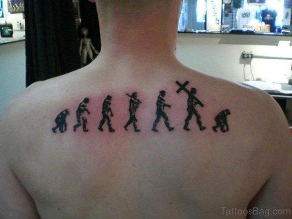 Simple Atheist Tattoo Design On Upper Back