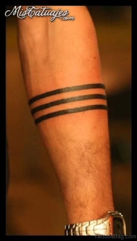 Simple Band Tattoo On Arm