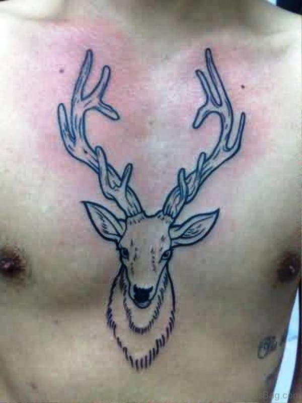 Simple Black Buck Tattoo On Chest
